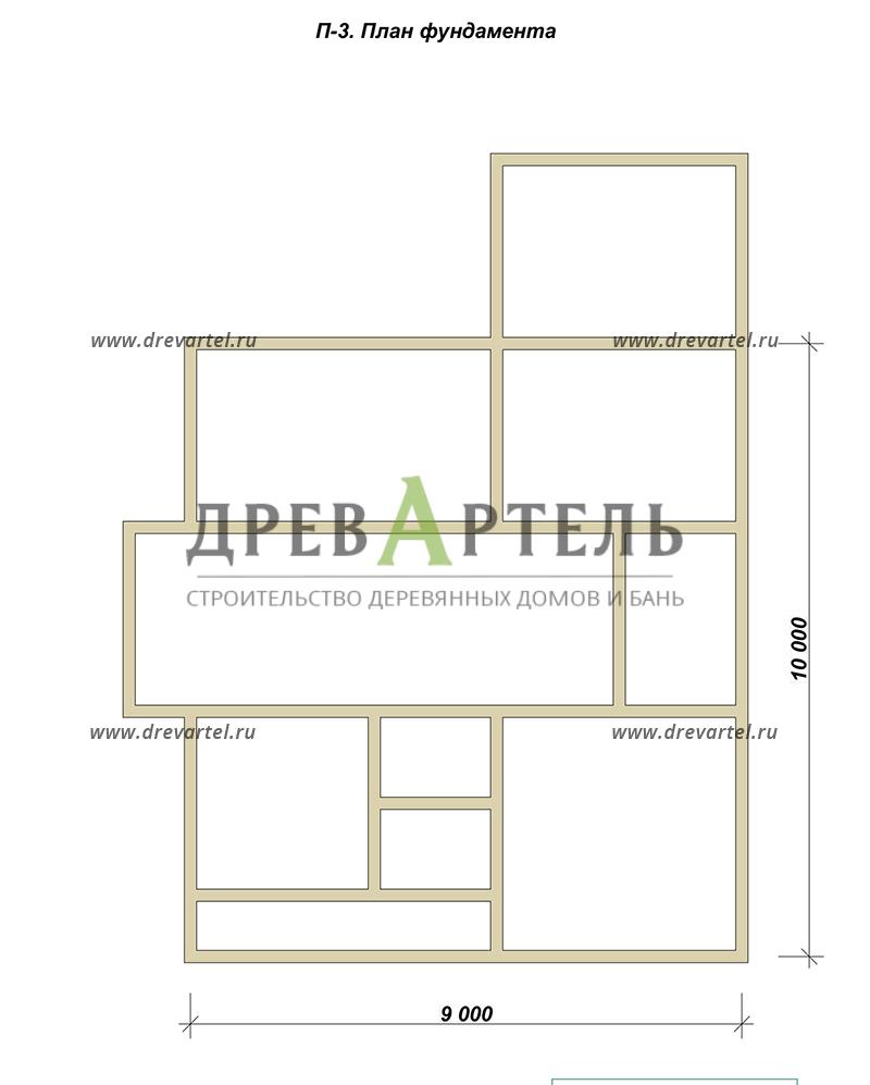 План ленточного фундамента - Дом из бруса 10х10 с эркером