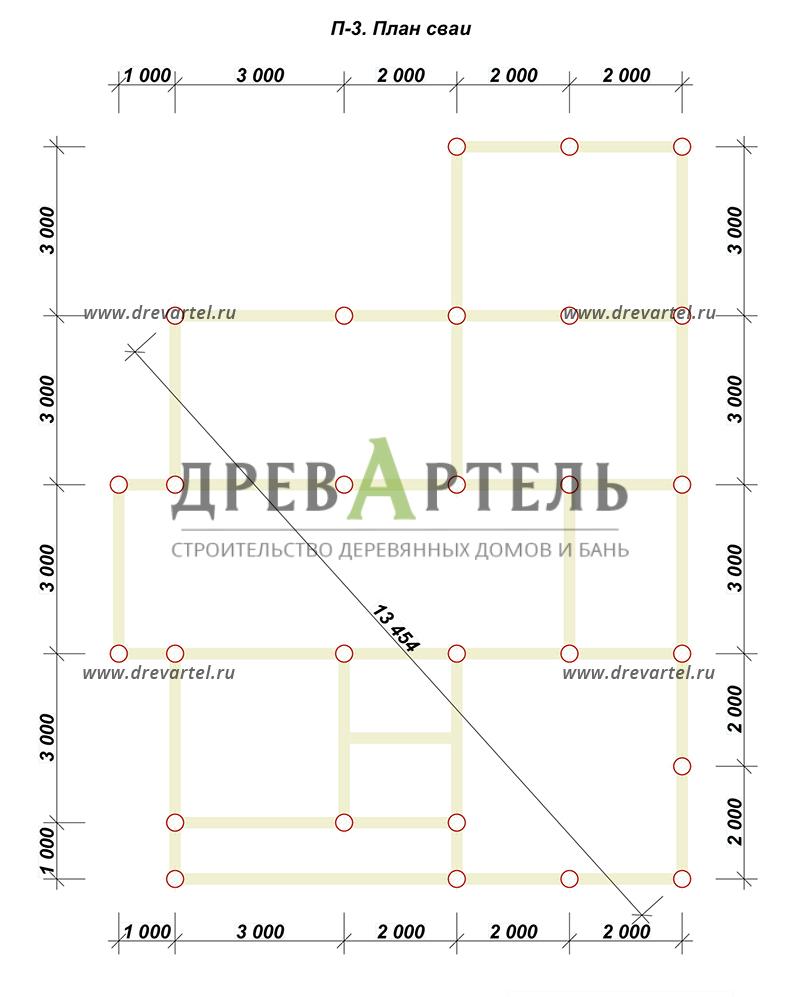 План свайного фундамента - Дом из бруса 10х10 с эркером