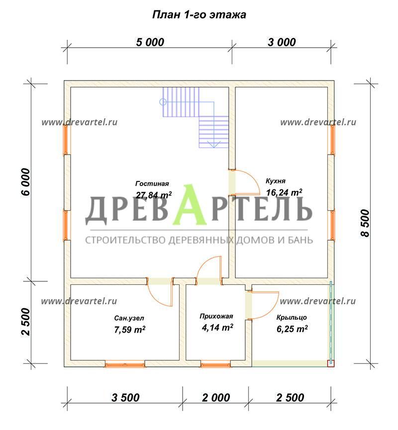 План 1-го этажа - Дом из бруса 8 на 8 в полтора этажа