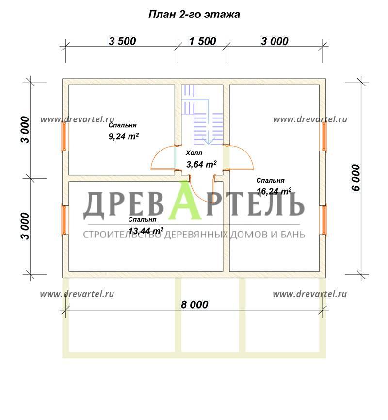План 2-го этажа - Дом из бруса 8 на 8 в полтора этажа