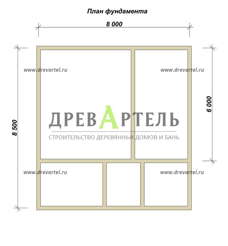 План ленточного фундамента - Дом из бруса 8 на 8 в полтора этажа