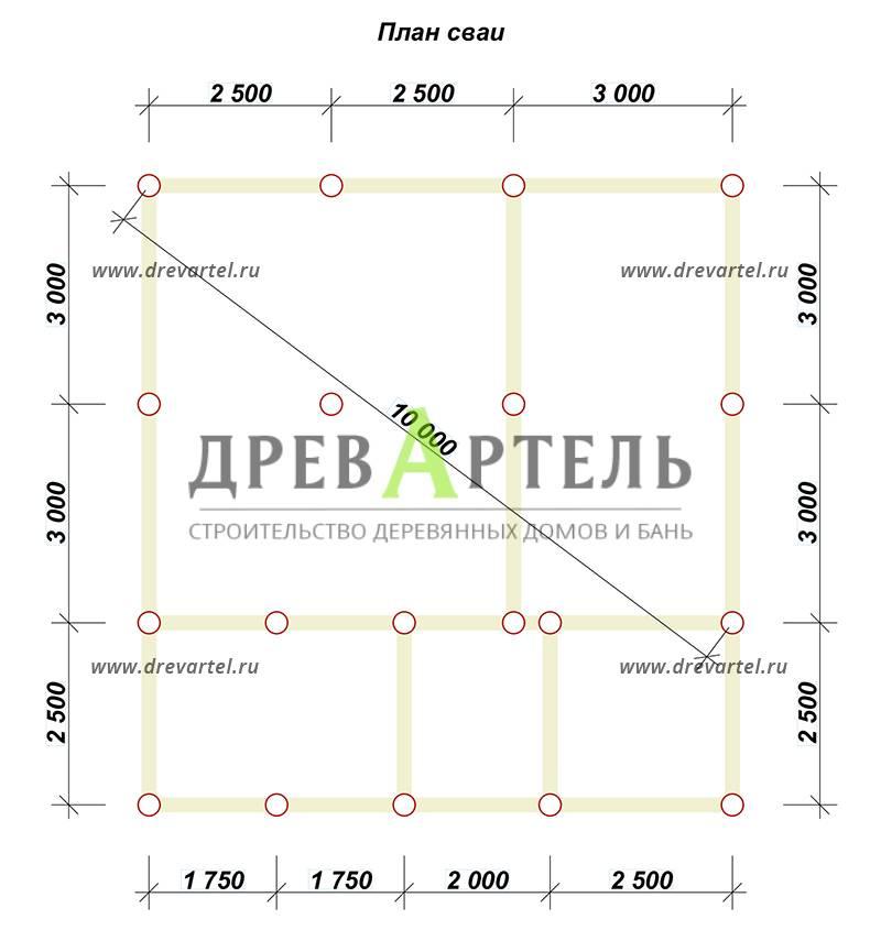 План свайного фундамента - Дом из бруса 8 на 8 в полтора этажа