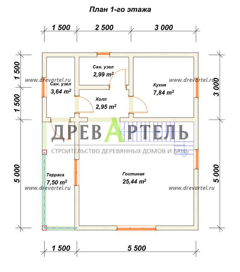 План 1-го этажа - Дом из бруса 6х8 с кукушкой