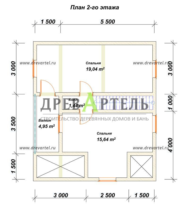 План 2-го этажа - Дом из бруса 6х8 с кукушкой