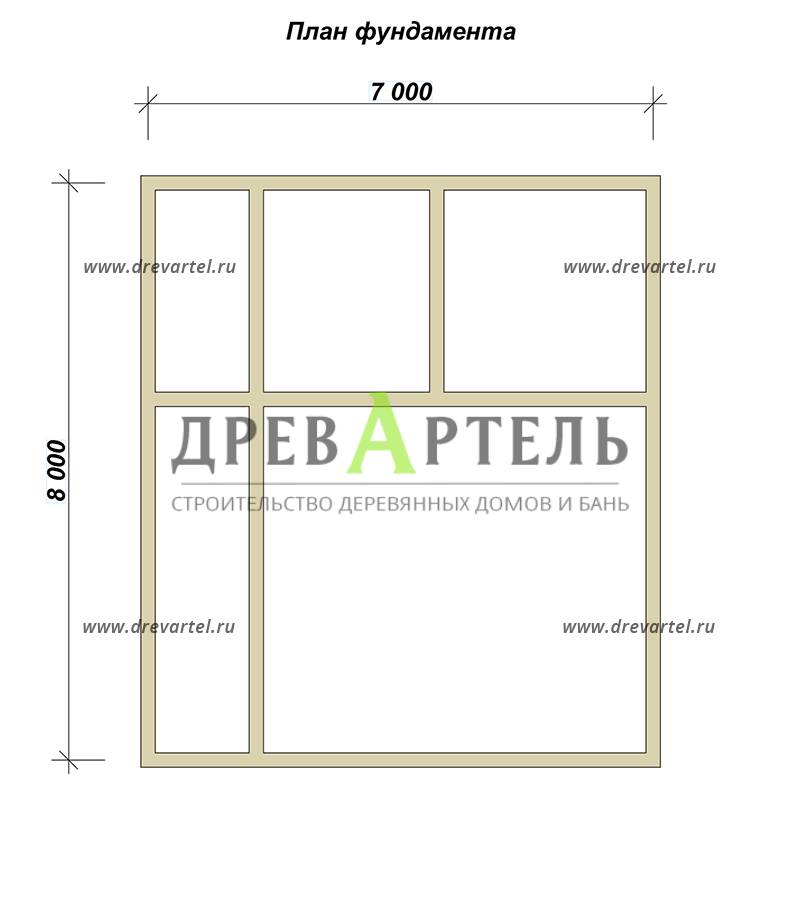 План ленточного фундамента - Дом из бруса 6х8 с кукушкой