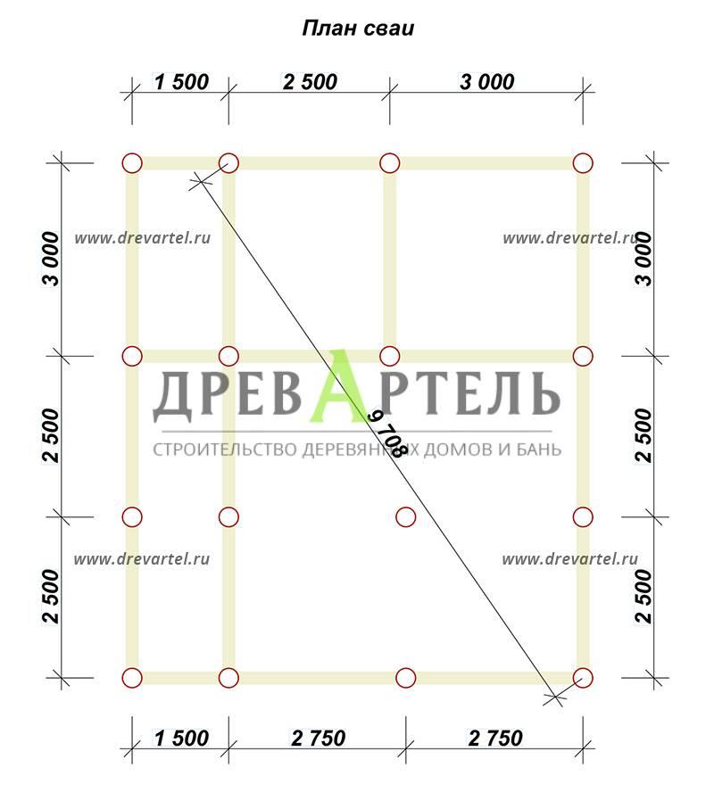 План свайного фундамента - Дом из бруса 6х8 с кукушкой