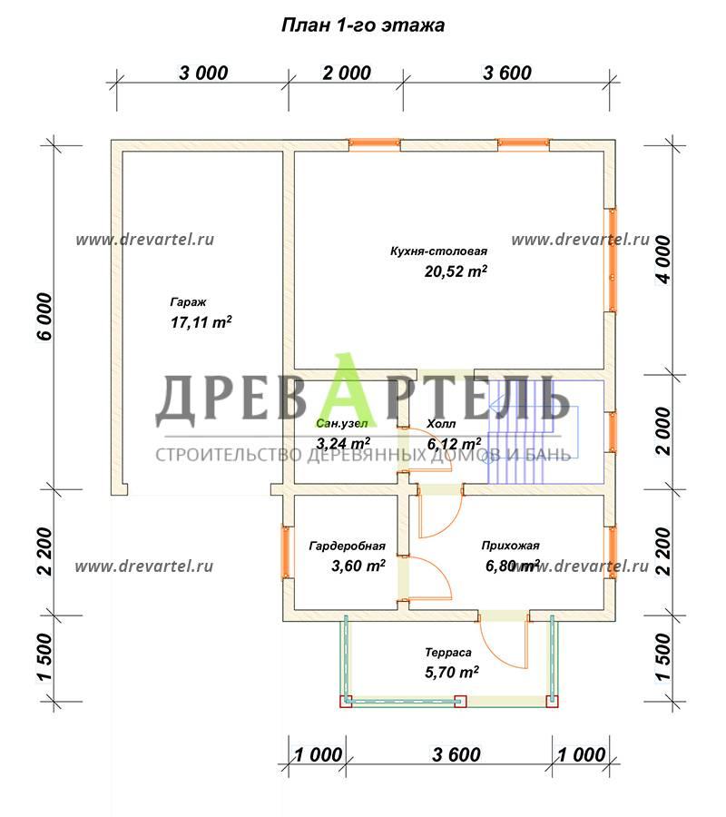 План 1-го этажа - Дом из бруса 8х8 с гаражом