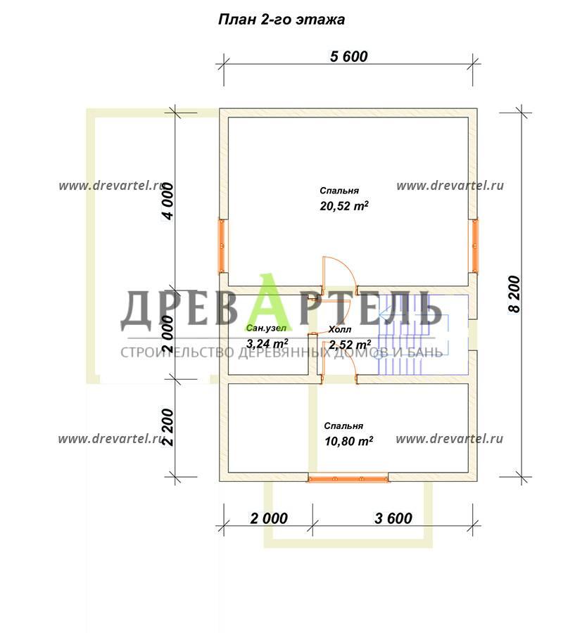 План 2-го этажа - Дом из бруса 8х8 с гаражом