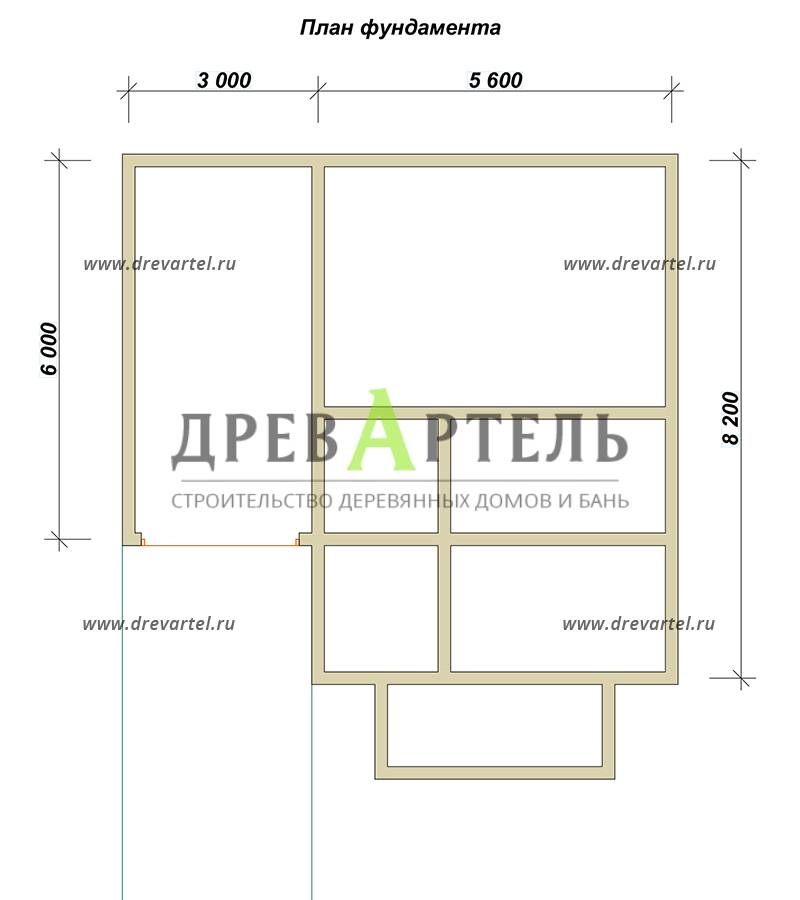 План ленточного фундамента - Дом из бруса 8х8 с гаражом
