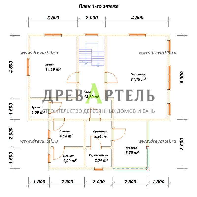 План 1-го этажа - Дом из бруса 10 на 11