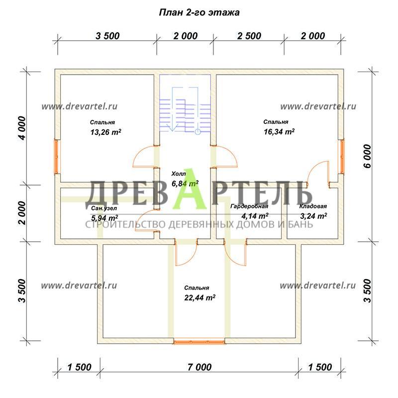 План 2-го этажа - Дом из бруса 10 на 11