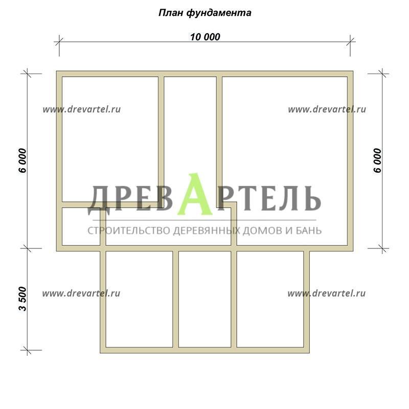 План ленточного фундамента - Дом из бруса 10 на 11