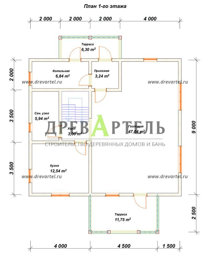 План 1-го этажа - Дом из бруса 9х10 с балконом