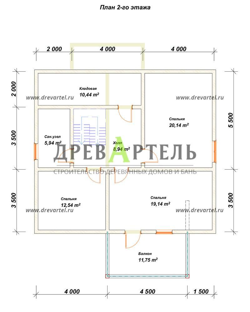 План 2-го этажа - Дом из бруса 9х10 с балконом