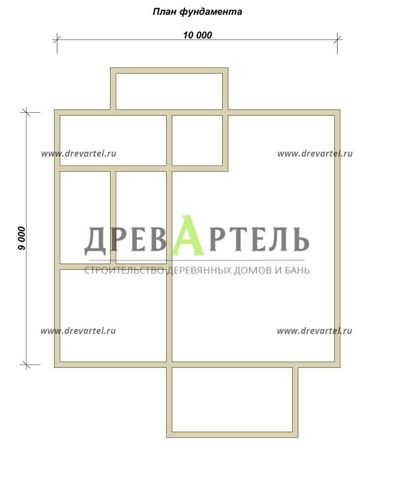 План ленточного фундамента - Дом из бруса 9х10 с балконом
