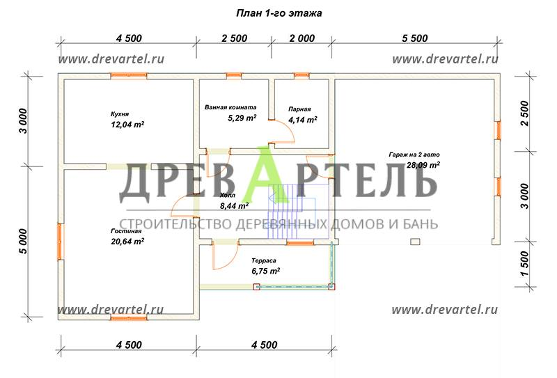 План 1-го этажа - Дом из бруса 8х14 с гаражом