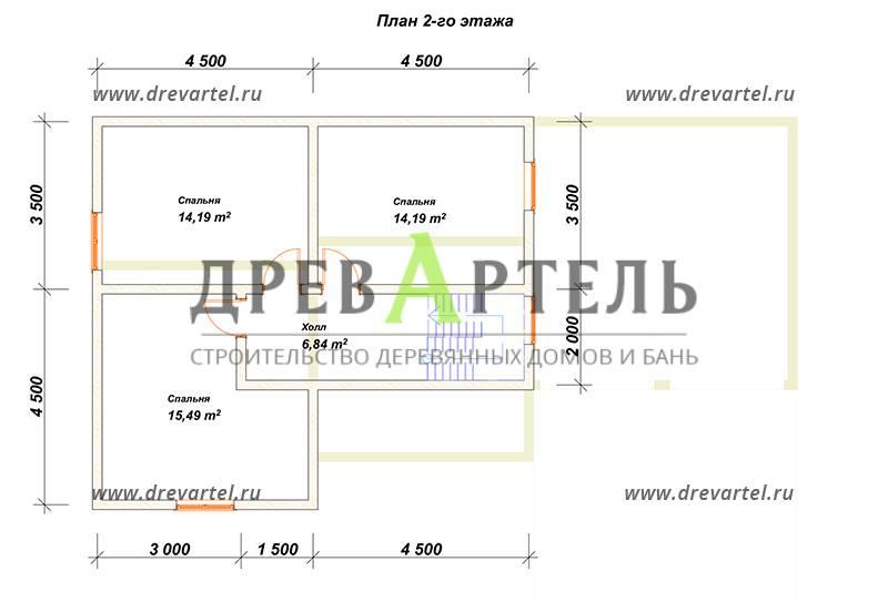 План 2-го этажа - Дом из бруса 8х14 с гаражом