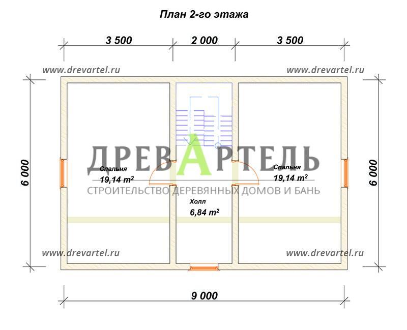 План 2-го этажа - Брусовой дом 6х9 под ключ