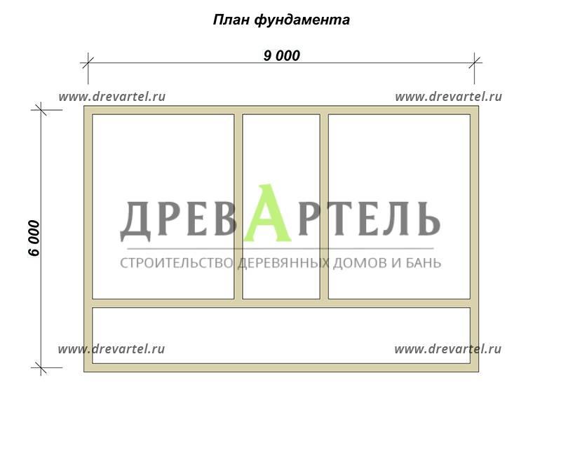 План ленточного фундамента - Брусовой дом 6х9 под ключ
