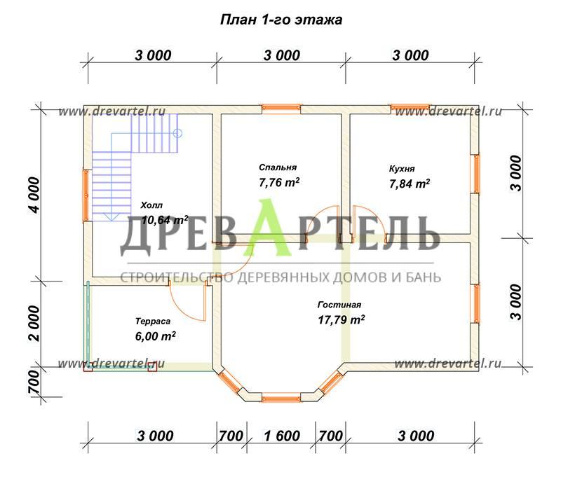 План 1-го этажа - Дом из бруса 6х9 с эркером и кукушкой