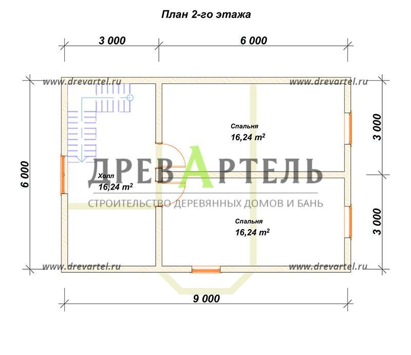 План 2-го этажа - Дом из бруса 6х9 с эркером и кукушкой