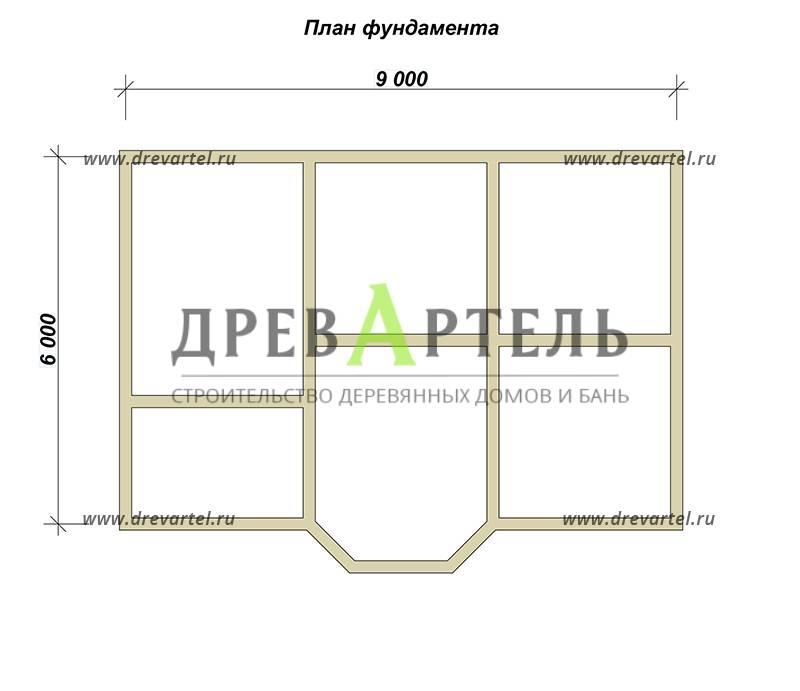 План ленточного фундамента - Дом из бруса 6х9 с эркером и кукушкой