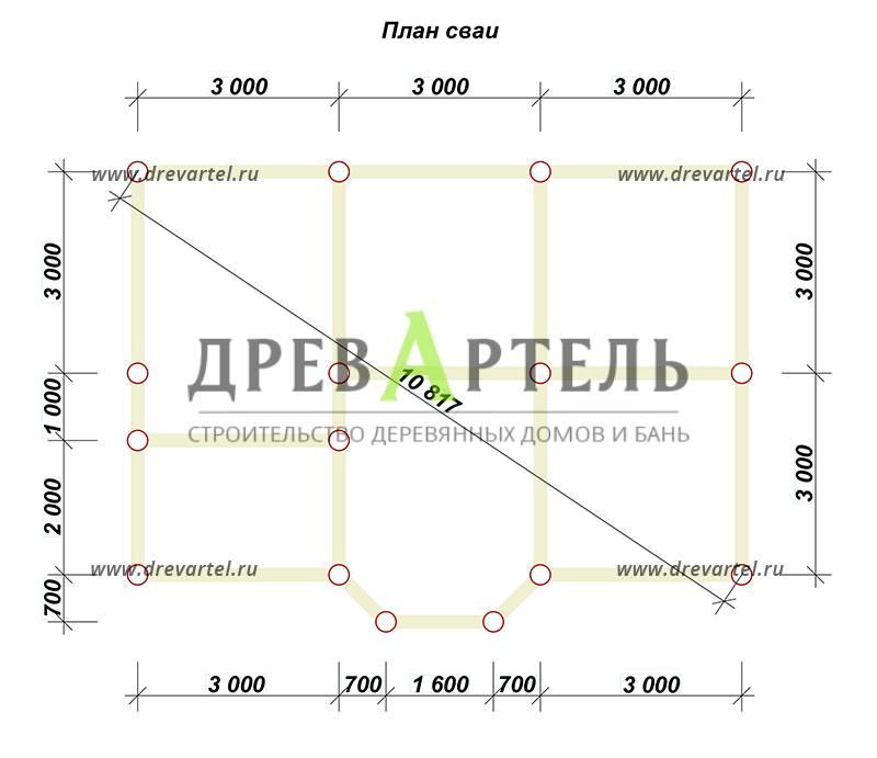 План свайного фундамента - Дом из бруса 6х9 с эркером и кукушкой