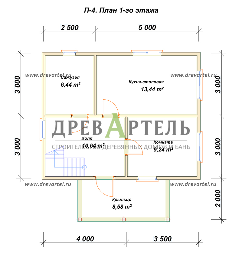 План 1-го этажа - Дом из бруса 7х8,5 – цена