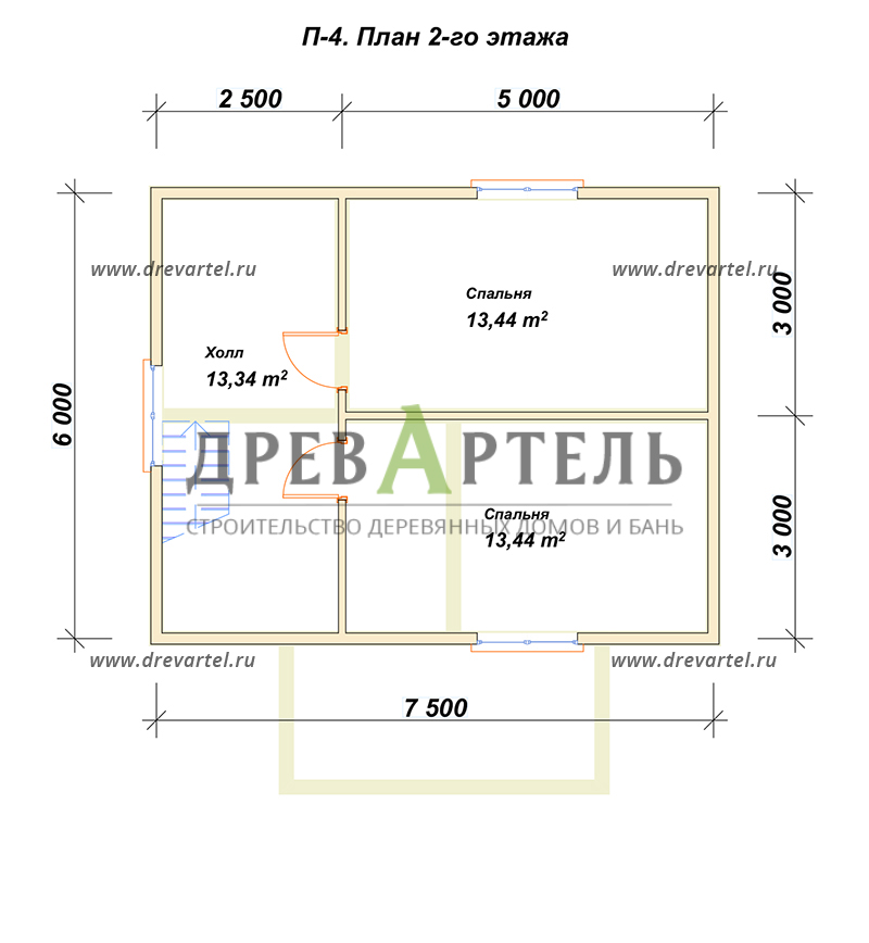 План 2-го этажа - Дом из бруса 7х8,5 – цена