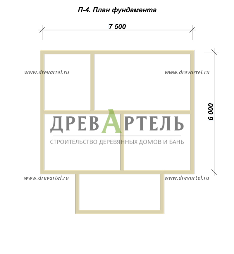 План ленточного фундамента - Дом из бруса 7х8,5 – цена
