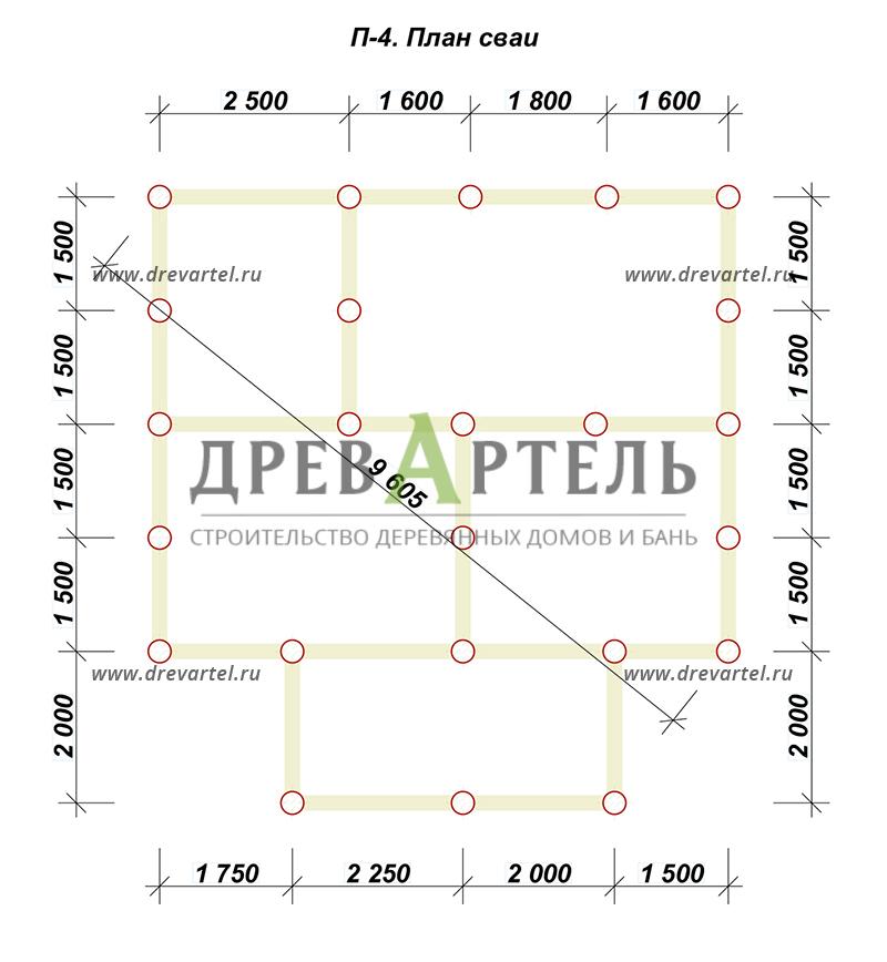 План свайного фундамента - Дом из бруса 7х8,5 – цена