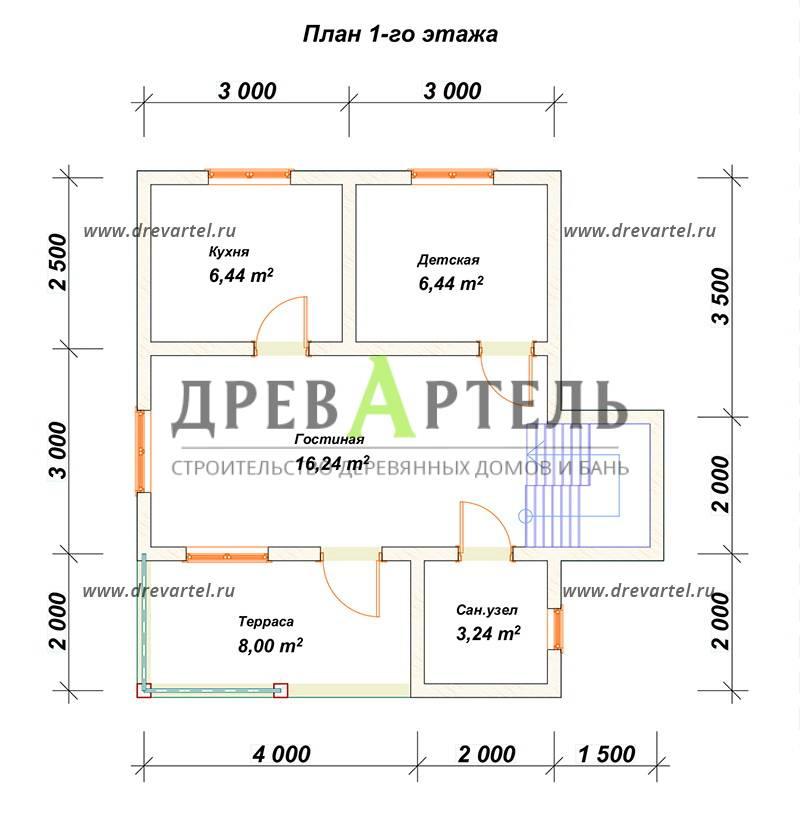 План 1-го этажа - Дом из бруса 6х8 с мансардой и балконом