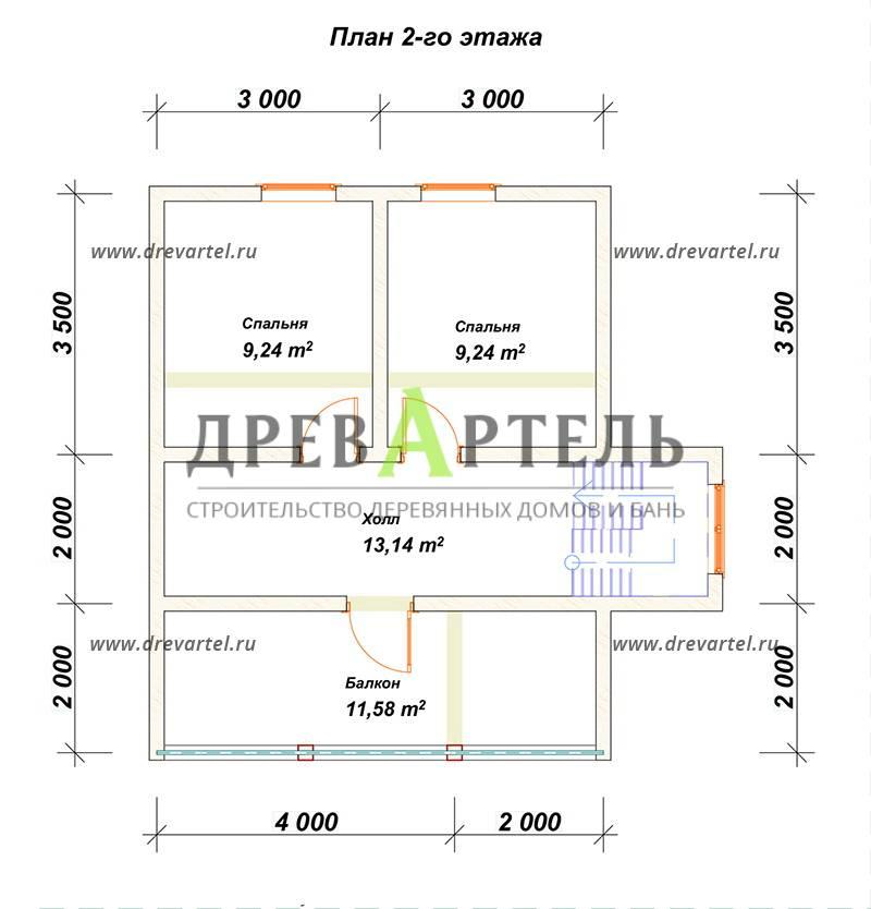 План 2-го этажа - Дом из бруса 6х8 с мансардой и балконом