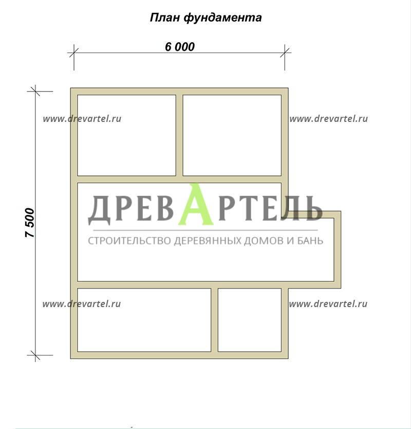 План ленточного фундамента - Дом из бруса 6х8 с мансардой и балконом