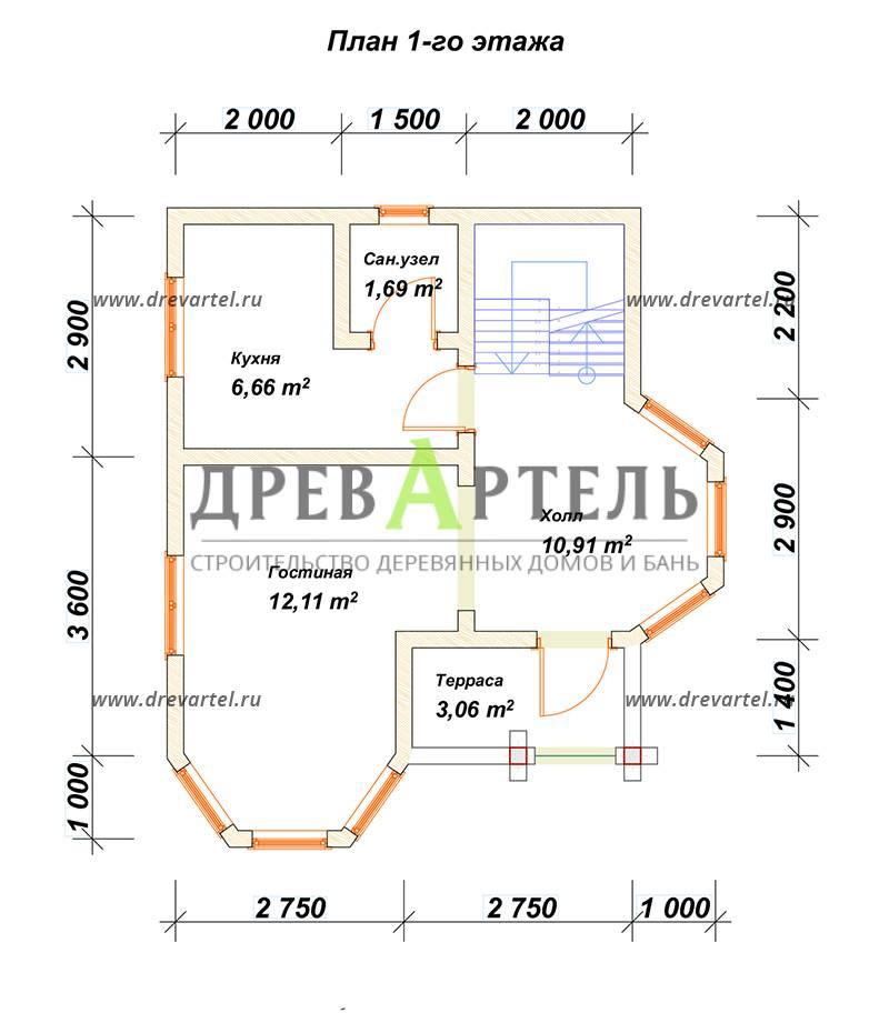 План 1-го этажа - Полутораэтажный дом из бруса 6х7