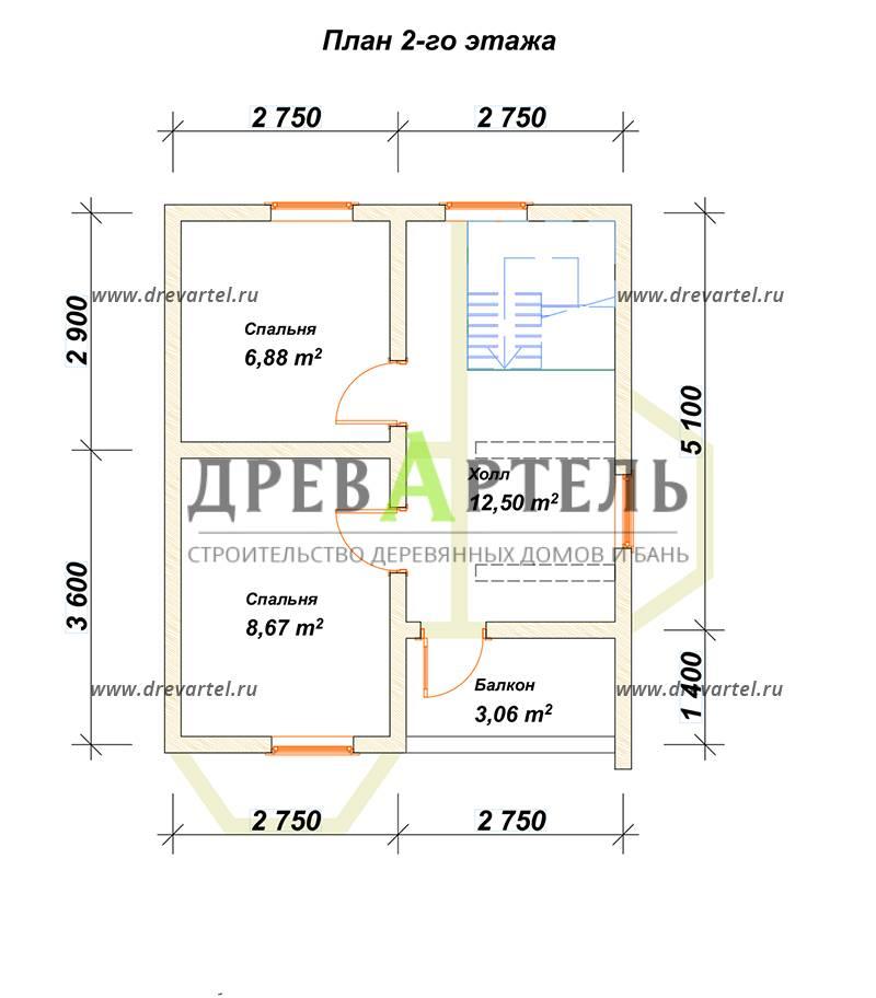 План 2-го этажа - Полутораэтажный дом из бруса 6х7