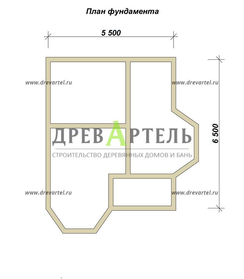 План ленточного фундамента - Полутораэтажный дом из бруса 6х7