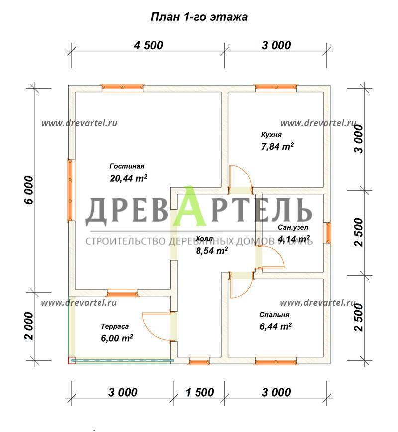 План 1-го этажа - Одноэтажный дом из бруса 8х8