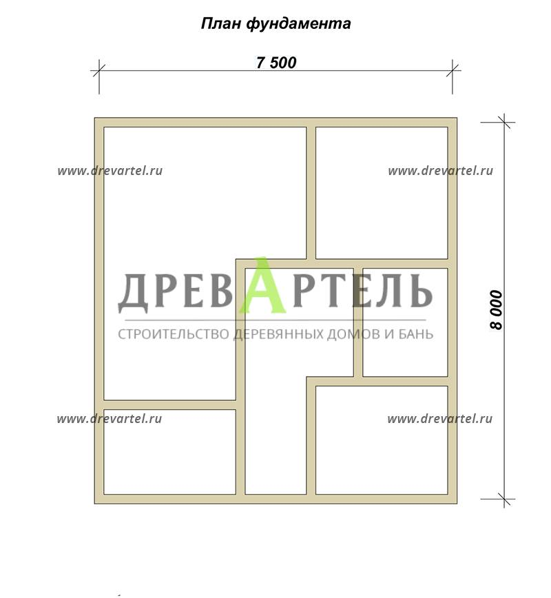План ленточного фундамента - Одноэтажный дом из бруса 8х8
