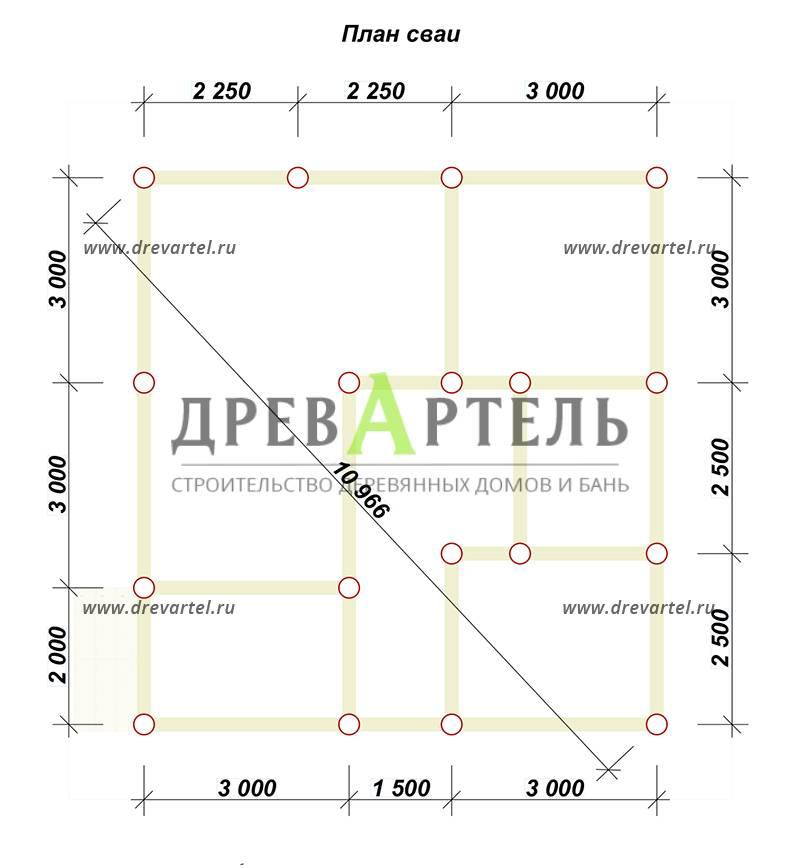 План свайного фундамента - Одноэтажный дом из бруса 8х8