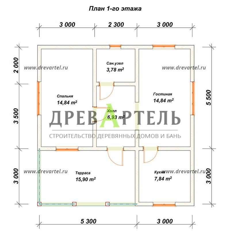 План 1-го этажа - Одноэтажный дом из бруса 8х8 с террасой