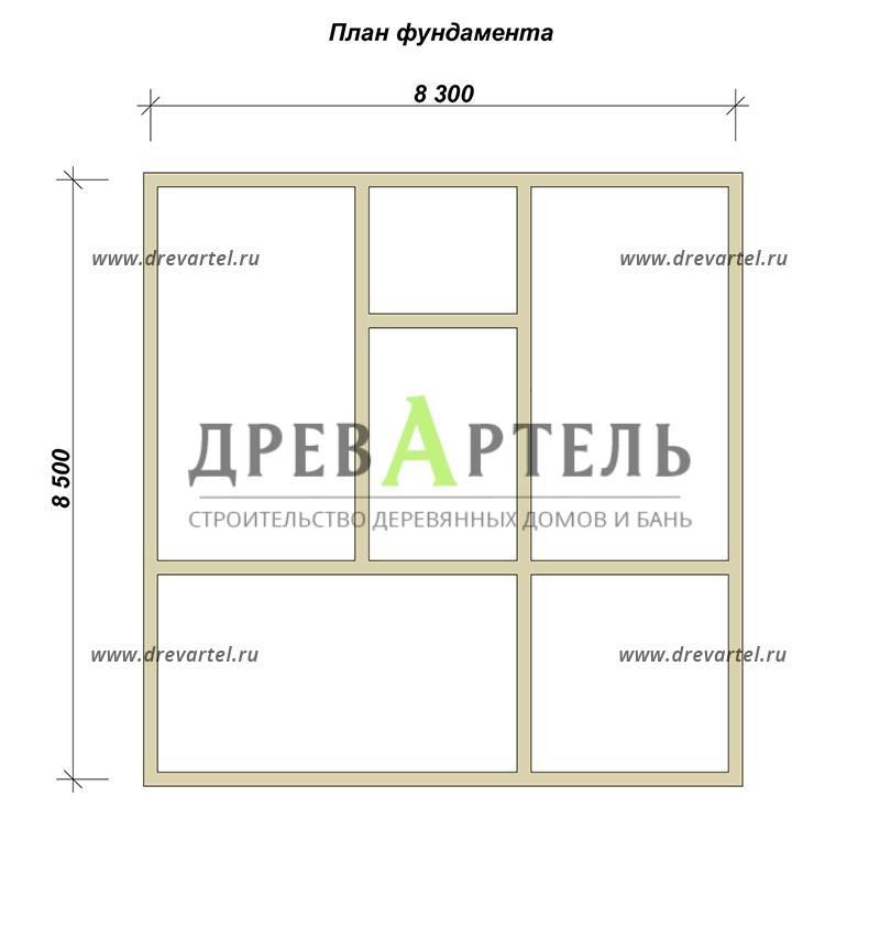План ленточного фундамента - Одноэтажный дом из бруса 8х8 с террасой