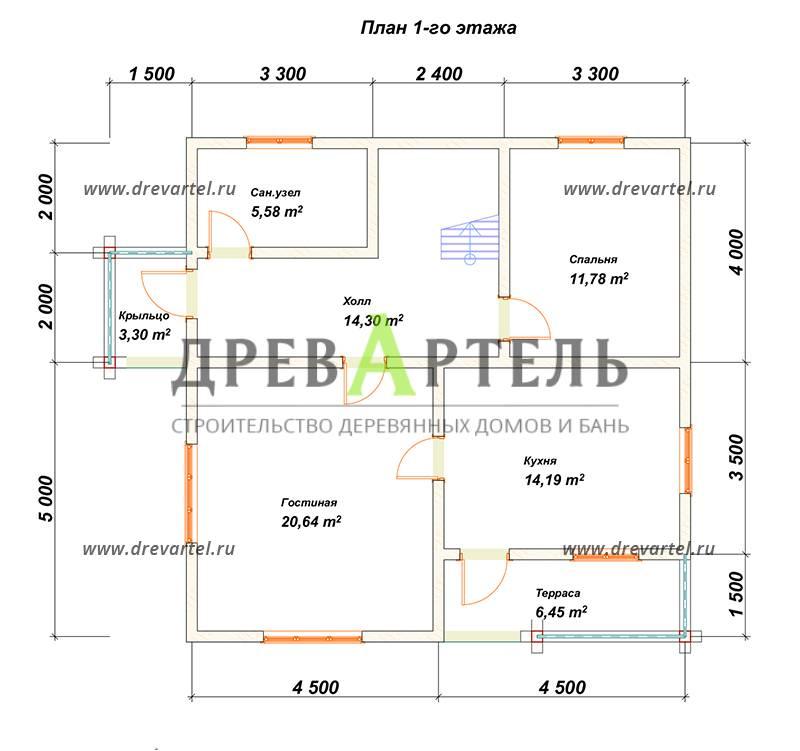План 1-го этажа - Полутораэтажный дом из бруса 9х9