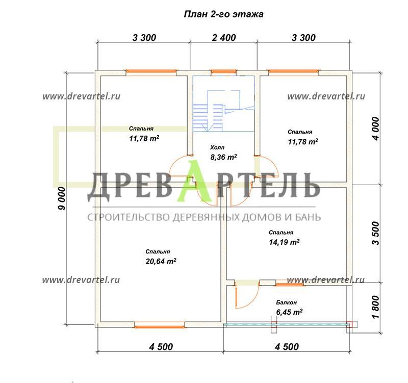 План 2-го этажа - Полутораэтажный дом из бруса 9х9