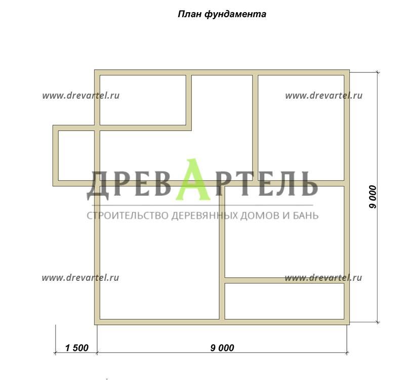 План ленточного фундамента - Полутораэтажный дом из бруса 9х9