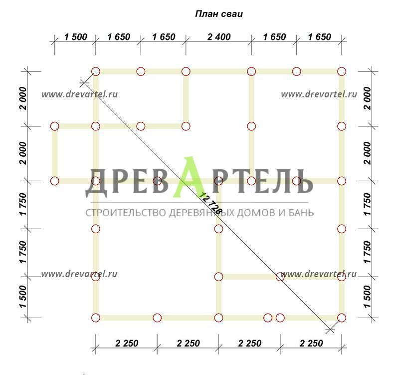 План свайного фундамента - Полутораэтажный дом из бруса 9х9