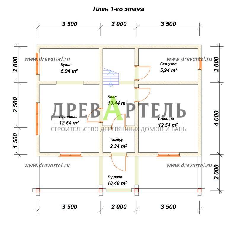 План 1-го этажа - Дом из бруса 8х9 с мансардой и балконом