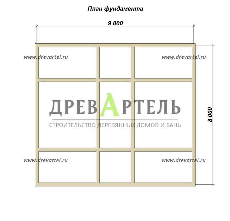 План ленточного фундамента - Дом из бруса 8х9 с мансардой и балконом