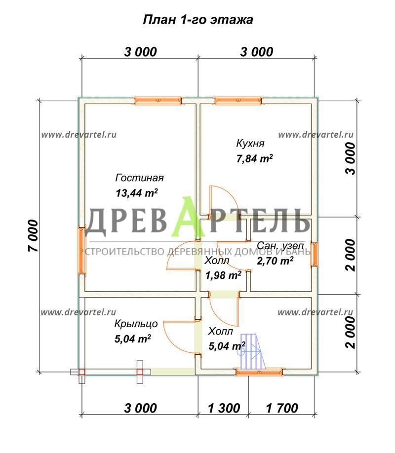 План 1-го этажа - Дом из профилированного бруса 6х7