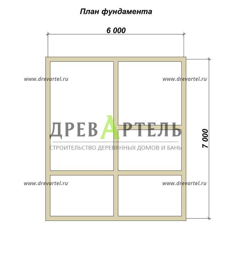 План ленточного фундамента - Дом из профилированного бруса 6х7